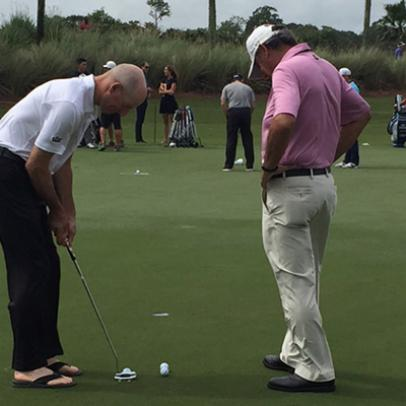 Why was Jim Furyk putting in sandals this morning?