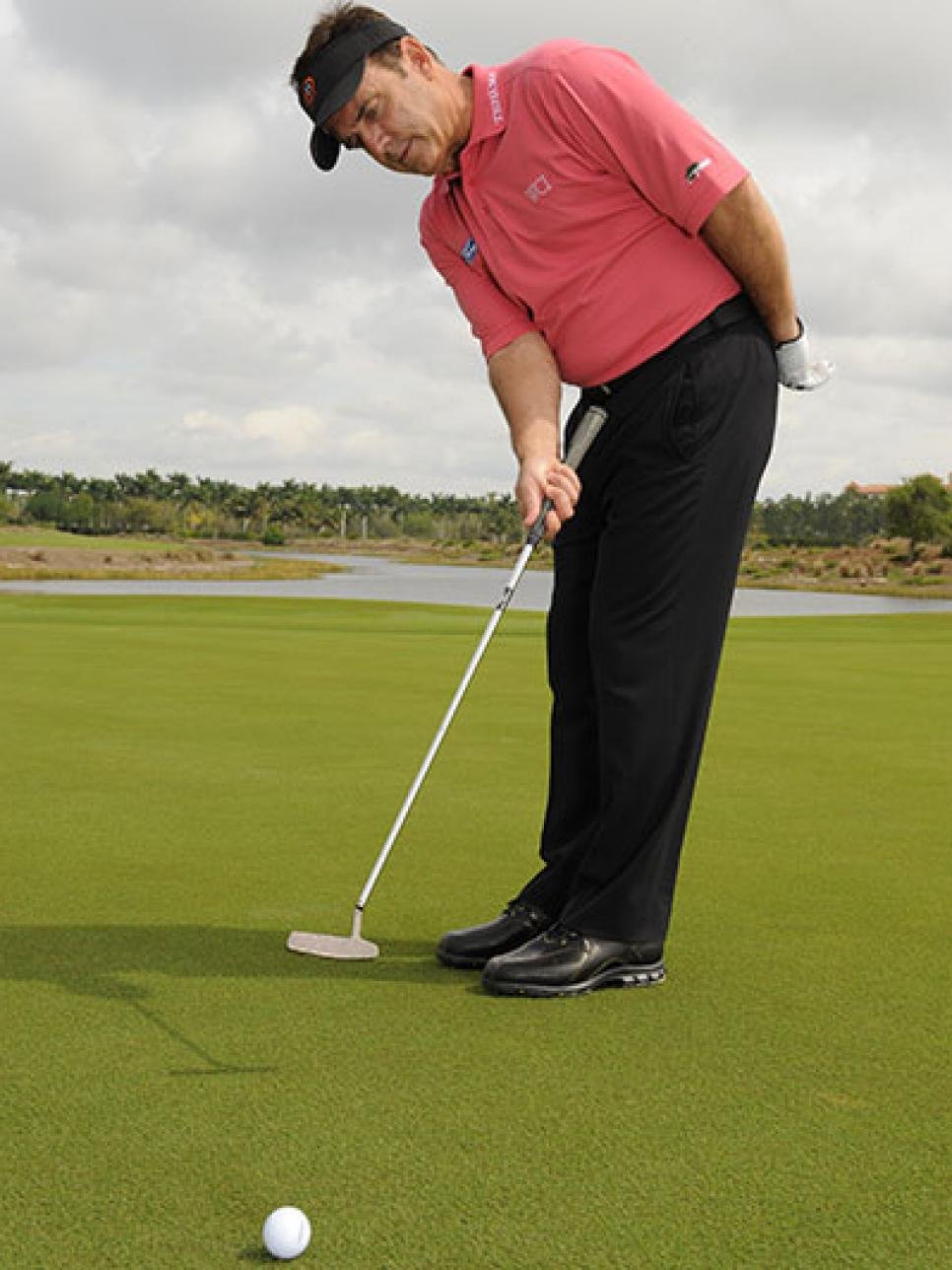 Putt with your right arm only on the practice green