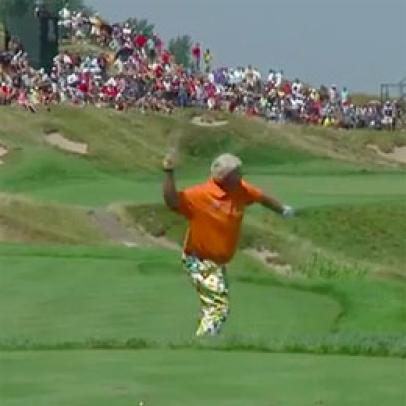 John Daly helicopters club into Lake Michigan after carding a 10 on a par 3 at Whistling Straits