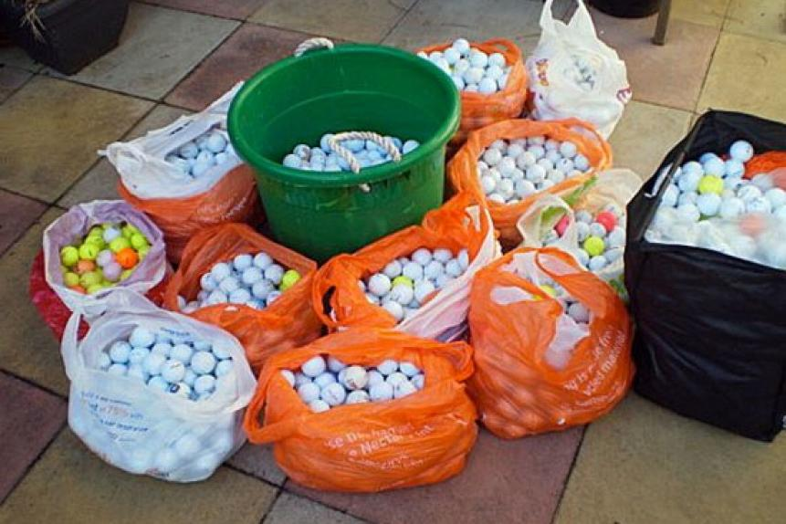 Buy refurbished/recycled golf balls.