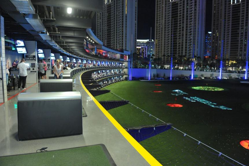 Topgolf Las Vegas has four floors and 108 hitting bays. The entire venue sprawls over 105,000 square feet.