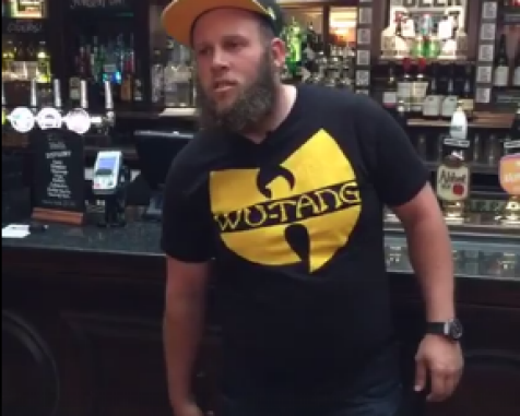 "Video: Andrew ""Beef"" Johnston giving golf lessons and drinking beers at a bar in London"