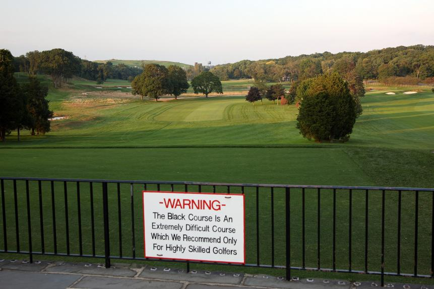 Warning sign, Bethpage Black
