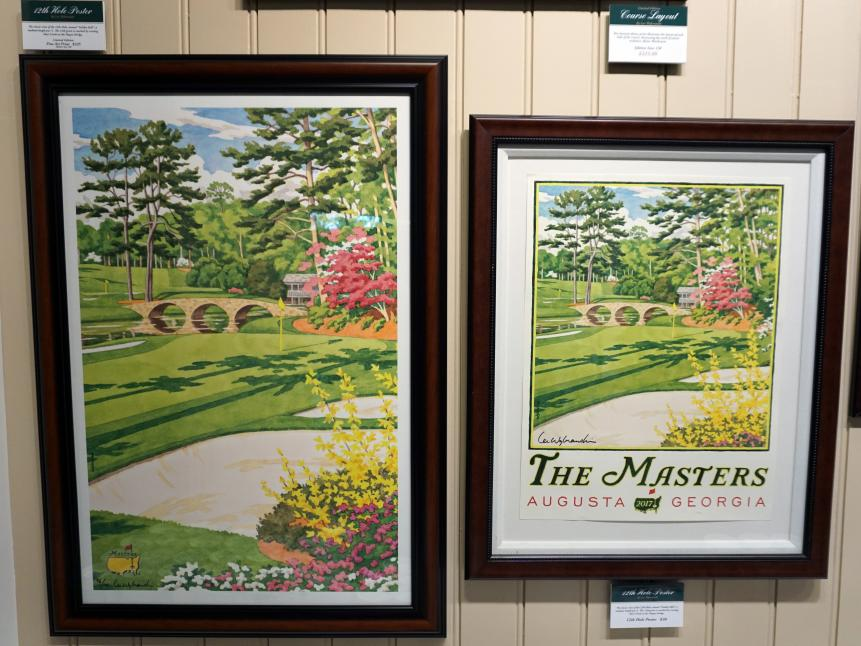 Limited Edition prints by Lee WybranskiIf you love golf and you love art, you're likely familiar with Lee Wybranski's work. The artist has made 100 prints of Augusta National's iconic 12th hole, and each print is selling for $225 (left). If you'd rather not pay that kind of money, you can buy a poster of that print for just $30 (right).