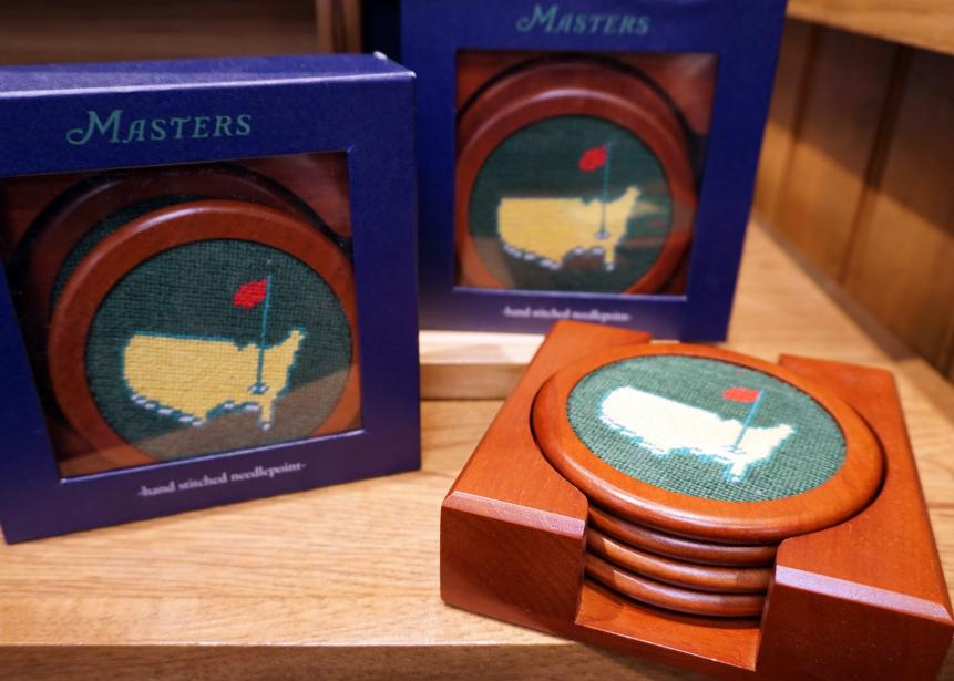 Needlepoint coastersYou won't often come across needlepoint coasters, so this Masters-edition option ($75 for a set of four) is a must.