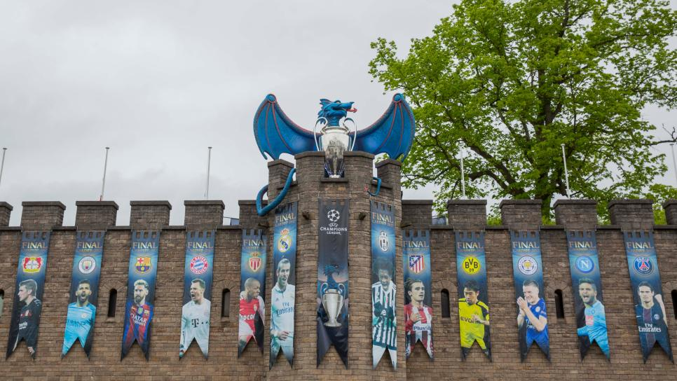Blue Dragon Installed At Cardiff Castle For Champions League Final