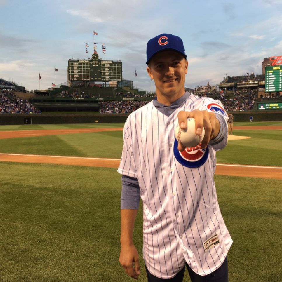 Jordan Spieth Chicago Cubs first pitch