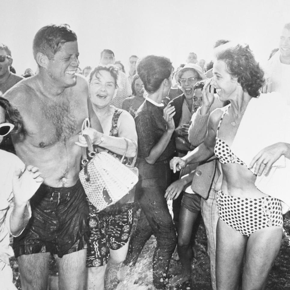 President Kennedy at Beach with Admirers