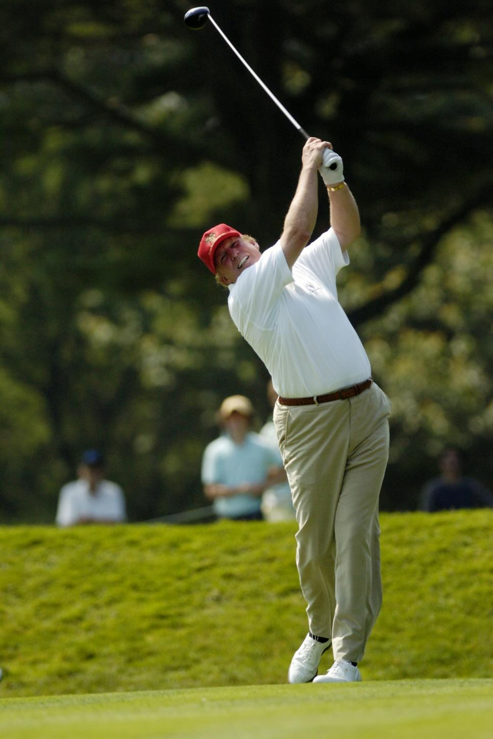 Donald Trump tees off in the pro-amateur Buick Classic at th