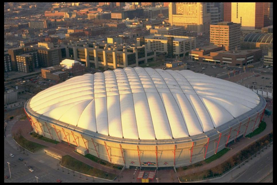 Stadiums: Aerial exterior view of Minn.