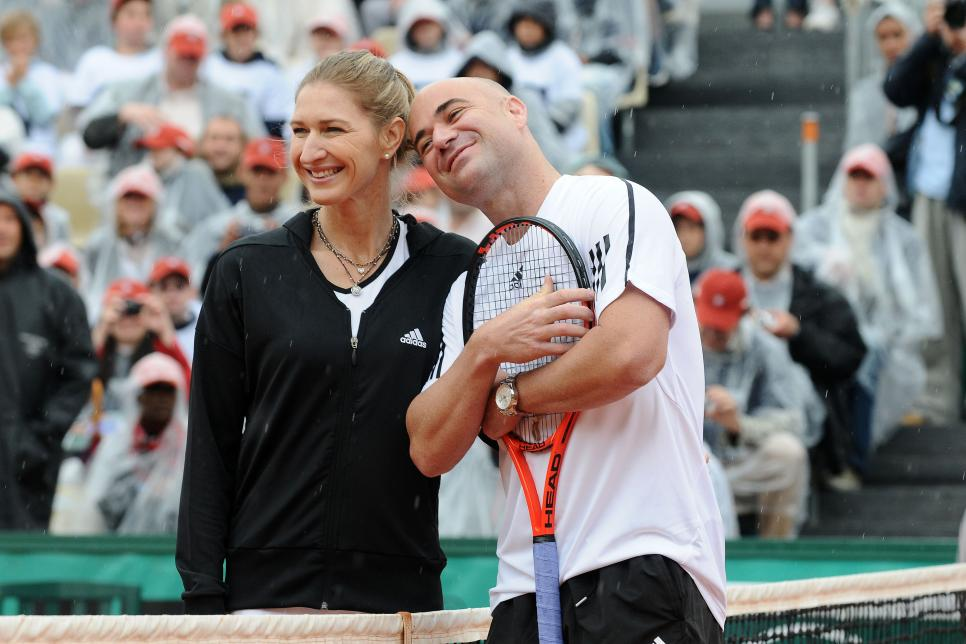 Andre Agassi and Steffi Graf in Roland-Garros for the Andre Agassi Foundation in Paris, France on June 06th, 2009.