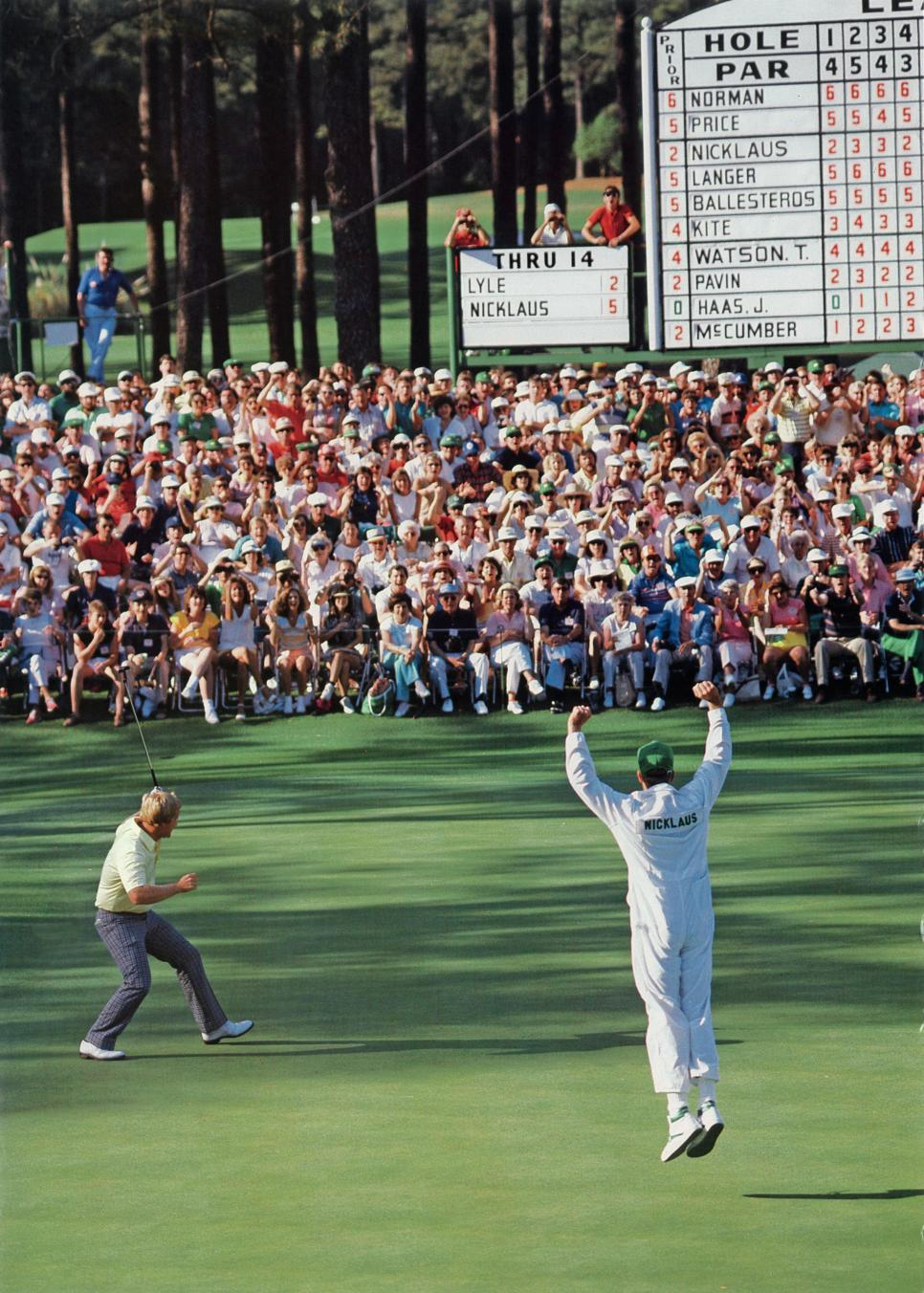 Jack Nicklaus Celebrates Eagle On The 15th Hole In The 1986 Maters Tournament