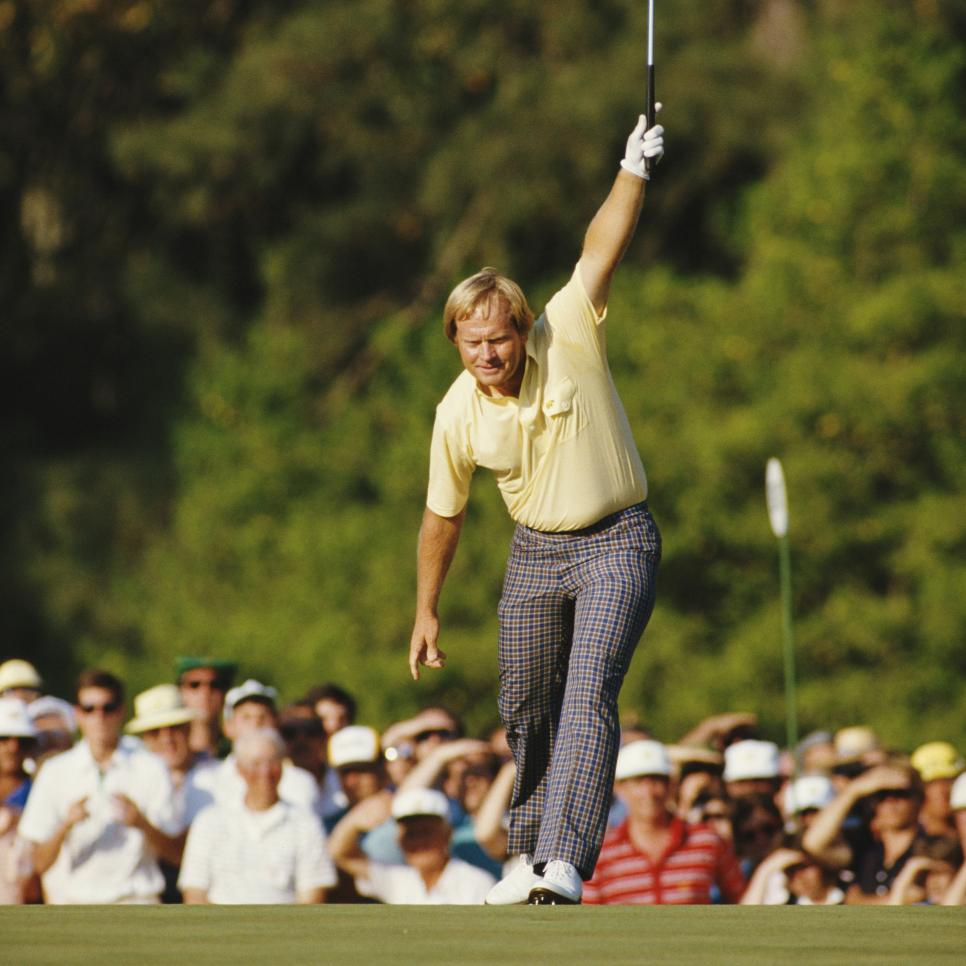 Jack Nicklaus celebrates his birdie on the 17th hole.