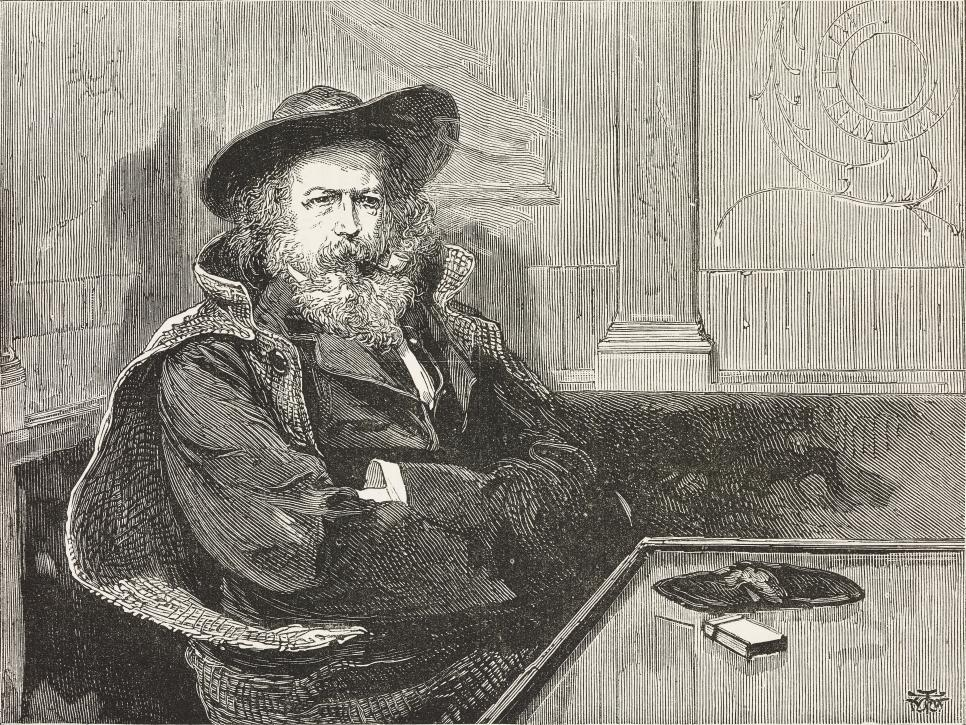 Portrait of the British poet Alfred Tennyson