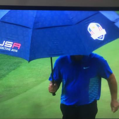 Masters 2018: Patrick Reed is using a USA Ryder Cup umbrella at the Masters because he's a cold-blooded American