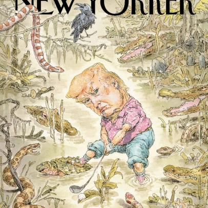 The story behind this New Yorker cover of Donald Trump playing golf
