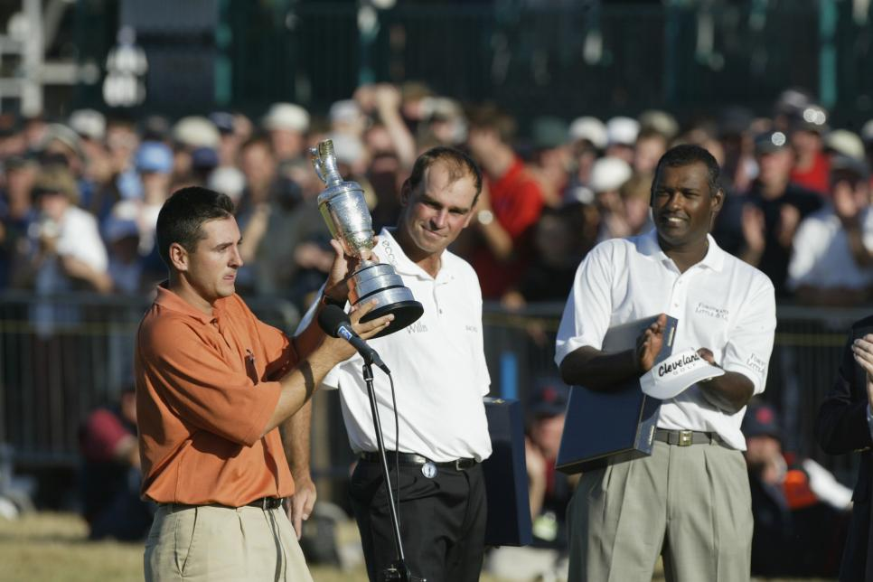 Ben Curtis of the USA receives the Claret Jug
