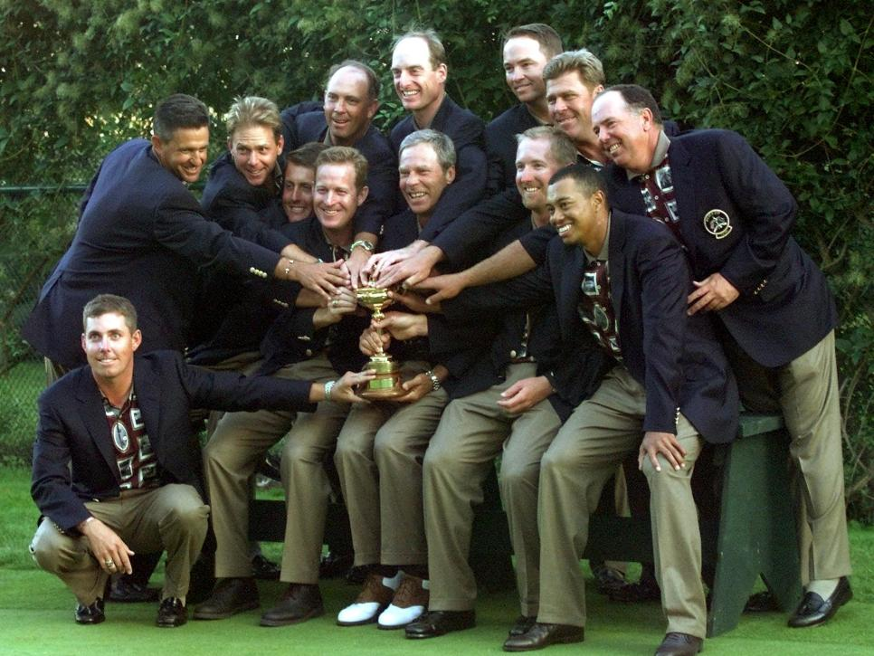 US Ryder Cup team members (L to R) Justin Leonard,