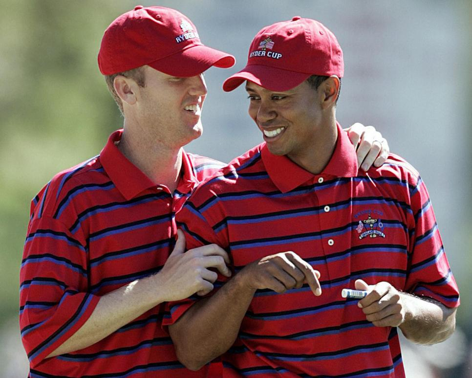 US Ryder Cup teammates Tiger Woods (R) a