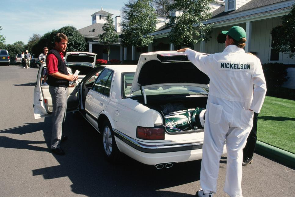 Phil Mickelson With The Courtesy Car During The 1996 Masters Tournament
