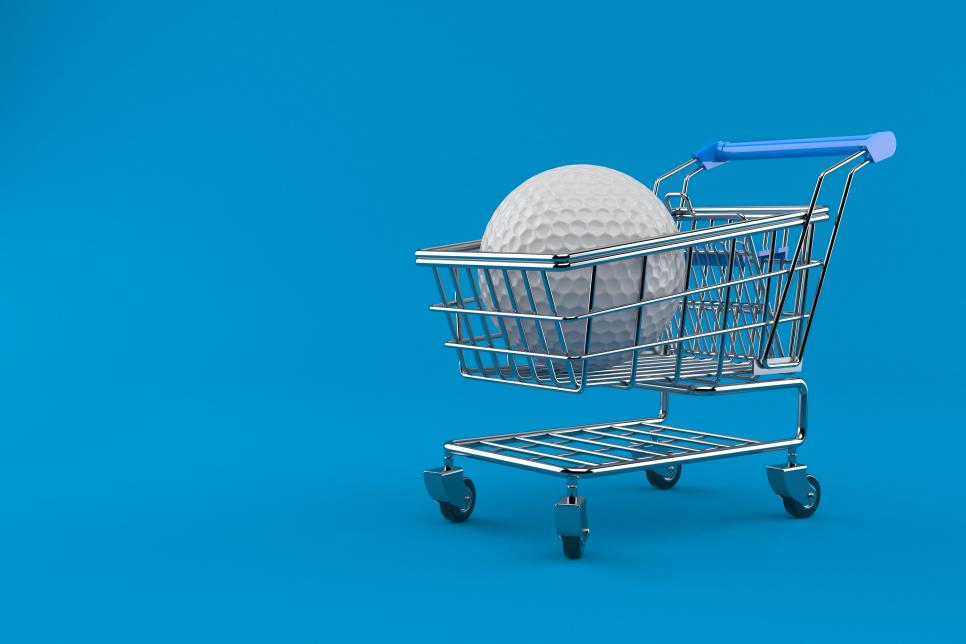 Golf ball with shopping cart