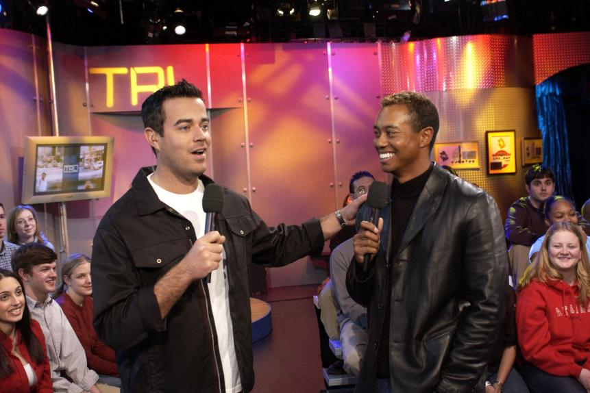 "Tiger Woods Promotes ""EA Sports Tiger Woods PGA Tour 2002"" Video Game on MTV's ""TRL"" - March 4, 2002"
