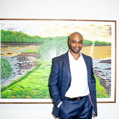 Valentino Dixon's golf drawings become center of attention at New York art show