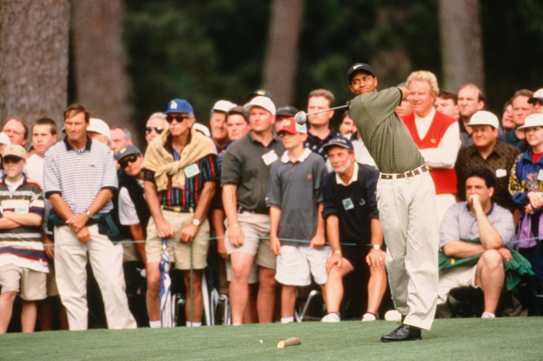 Tiger Woods Tees Off On The 15th Hole During The 1997 Masters Tournament