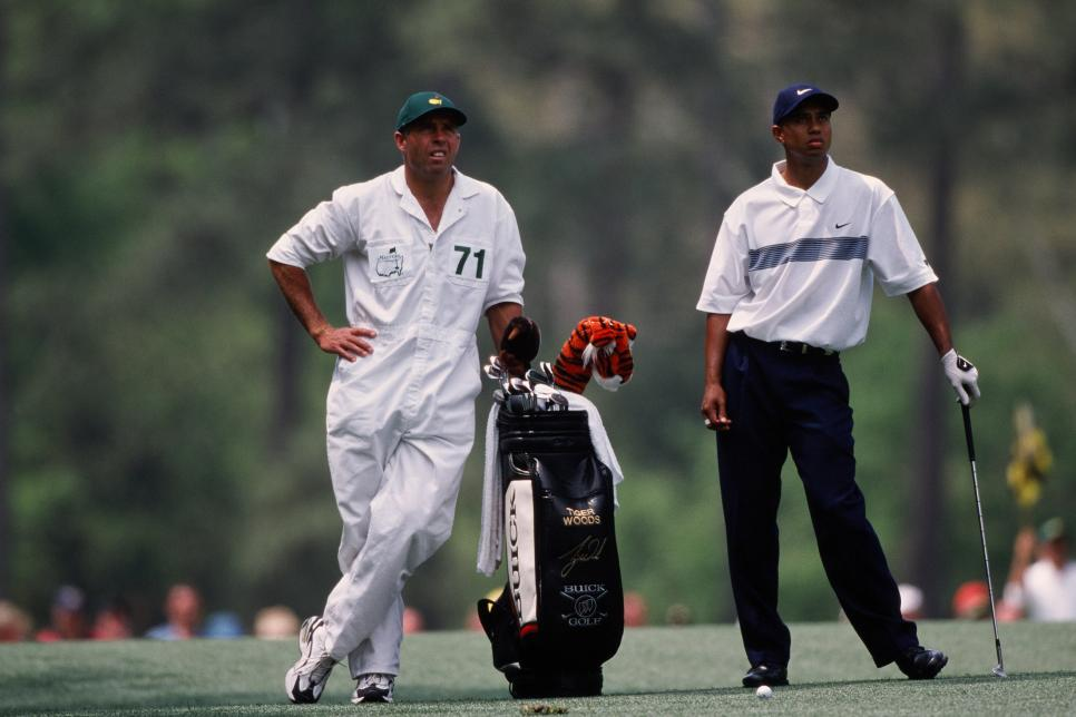 Tiger Woods And Stevie Williams During The 2001 Masters Tournament