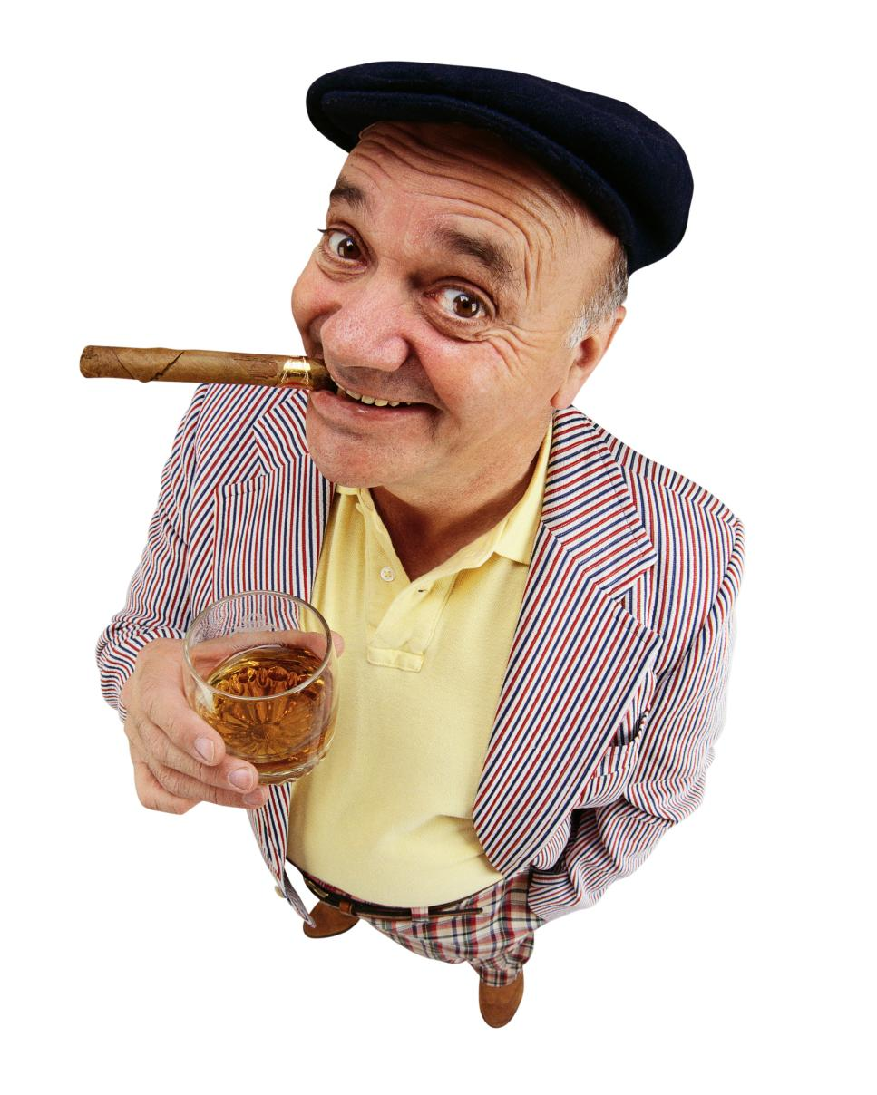 Happy Golfer with Cigar and Scotch