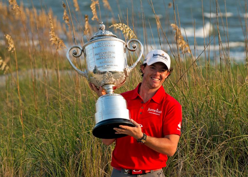 Rory McIlroy with the trophy after winni