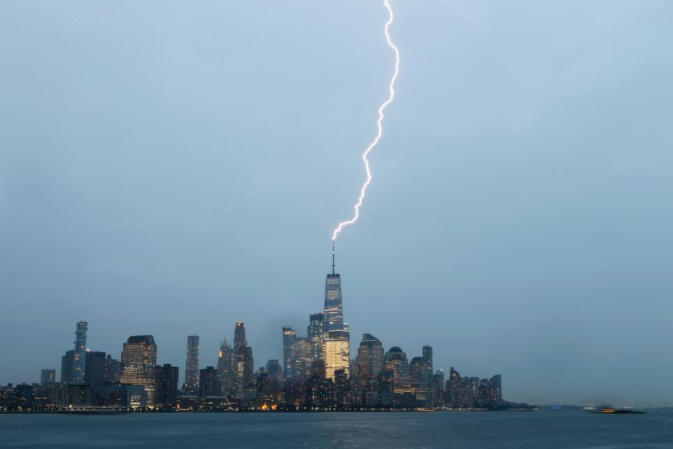 Lightning Strikes One World Trade Center in New York City