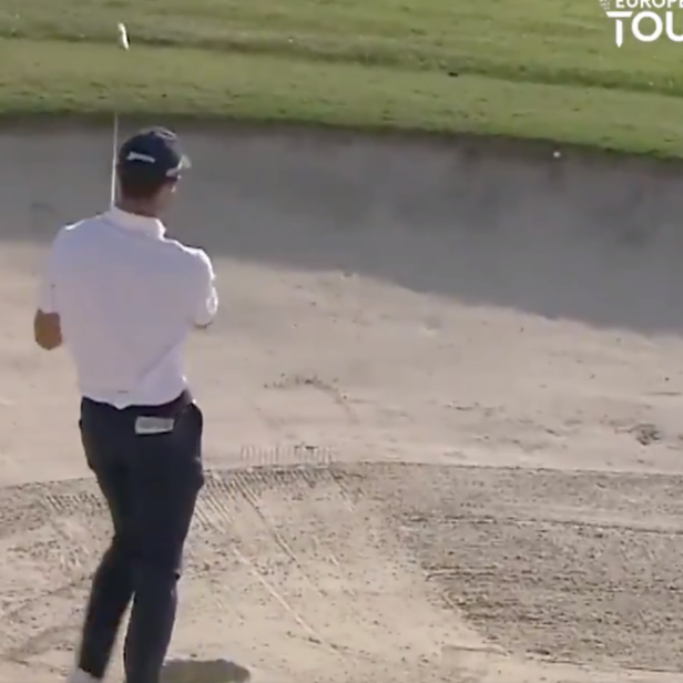 Euro Tour pro hits shot directly into face of bunker, reacts accordingly
