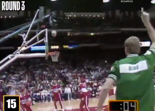 Shoot this footage of Larry Bird's 1988 3-Point Contest right into our veins