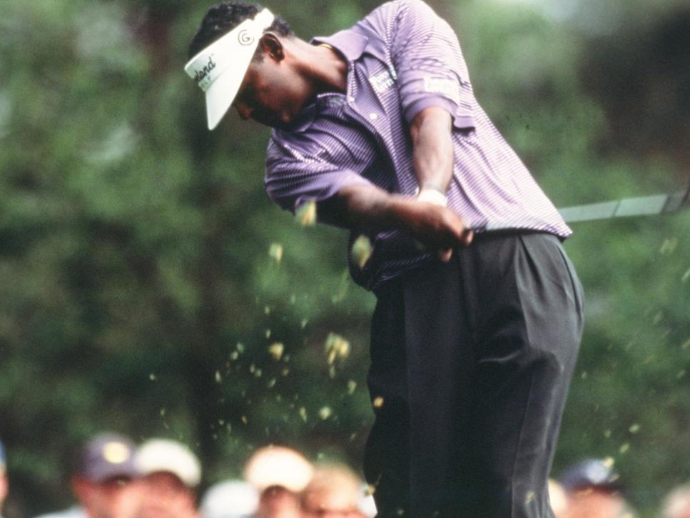 Vijay Singh Swings During The 2002 Masters Tournament