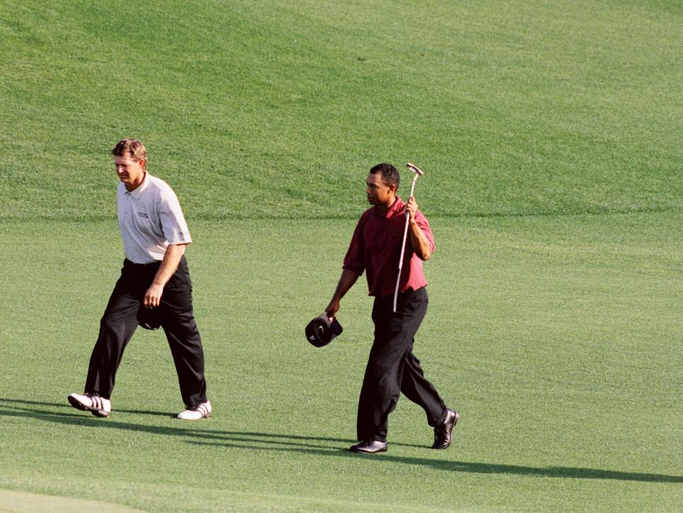 Tiger Woods And Retief Goosen Walk To The 18th Green During The 2002 Masters Tournament