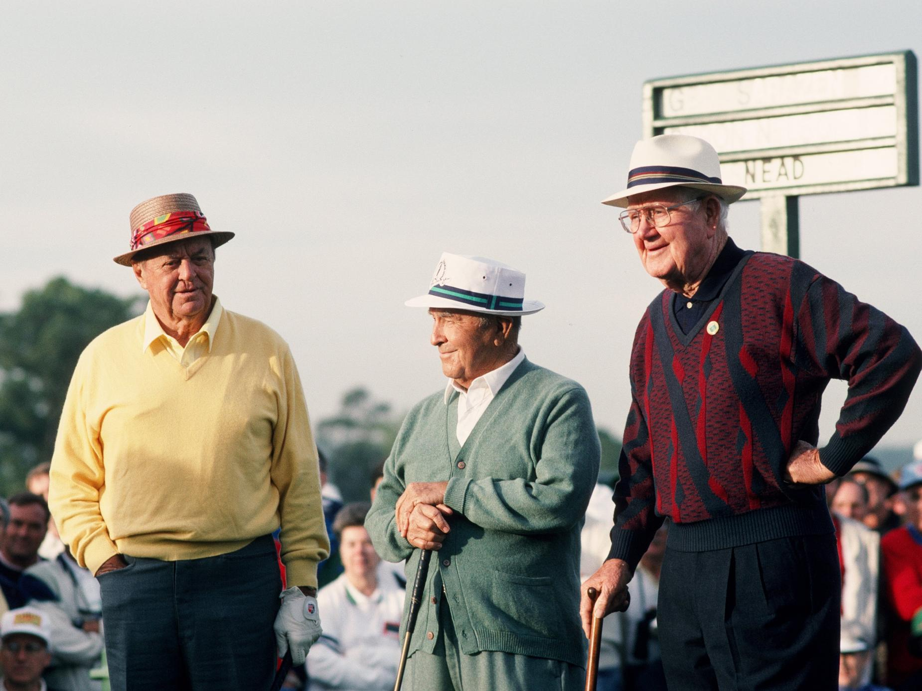 Honorary Starters, Sam Snead, Gene Sarazen, And Byron Nelson On The 1st Hole During The 1993 Masters Tournament