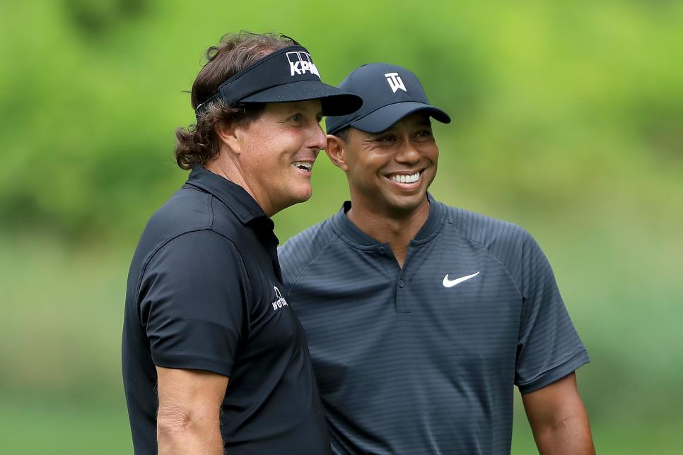 Tiger Woods Phil Mickelson 2018 World Golf Championships-Bridgestone Invitational - Preview Day 3