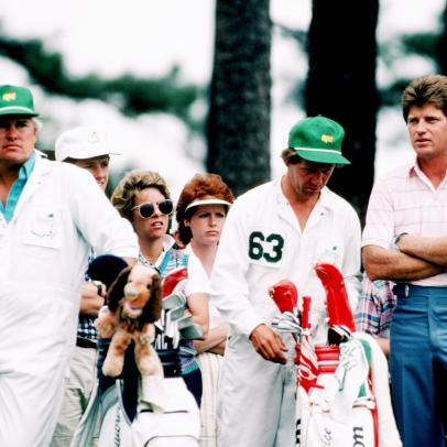 Nick Price set the Masters course record despite a hungover caddie giving him bad yardages all day