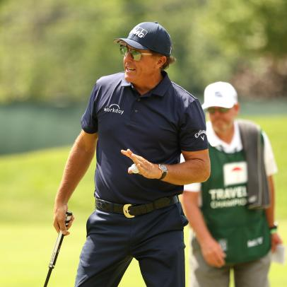 Phil Mickelson got a huge rules break on his way to taking Travelers lead