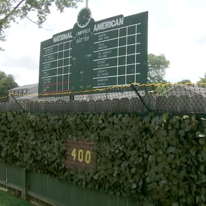 This backyard Wrigley Field replica is a Wiffle Ball paradise