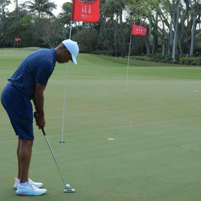 Here's a rare glimpse at Tiger Woods' backyard practice area and putting green