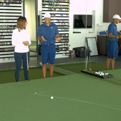 If Tiger Woods' backyard practice area didn't make you jealous, his indoor putting simulator will