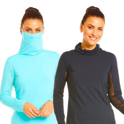 Best New Golf Stuff For Women: This popular mock neck top has a built-in face mask (!)
