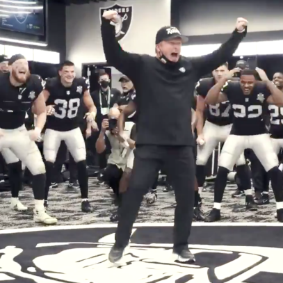 This video of Jon Gruden going batsh-t crazy in the Raiders locker room is everything