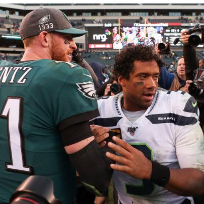 This absurd stat shows just how good Russell Wilson has been . . . at Carson Wentz's expense