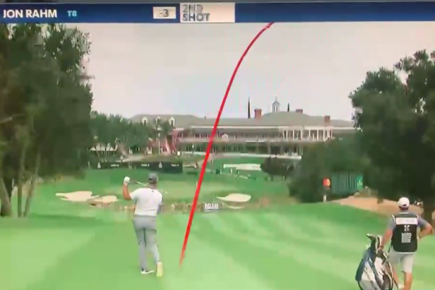 Jon Rahm shanks one off the planet at Sherwood, still makes miraculous bogey