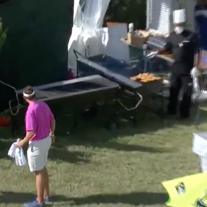 Pro blocks tee shot so badly that his ball ends up underneath a grill at the Bermuda Championship