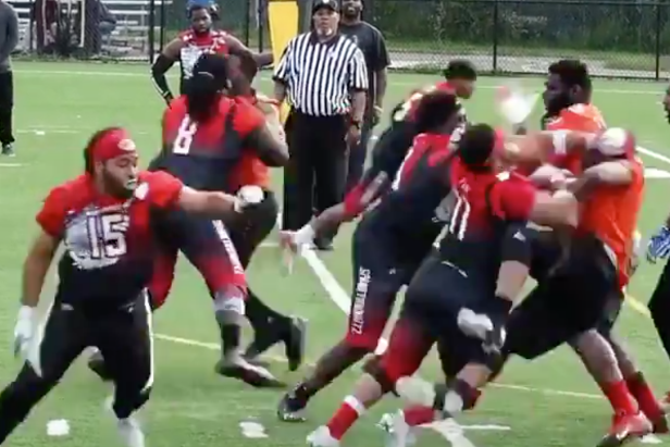 This tackle football league with no pads and no helmets looks like our kind of human rights violation