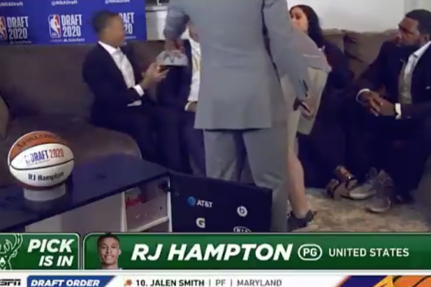 RJ Hampton's dad flinging a Bucks hat across the room after Milwaukee traded his son to the Nuggets was the highlight of the 2020 NBA Draft